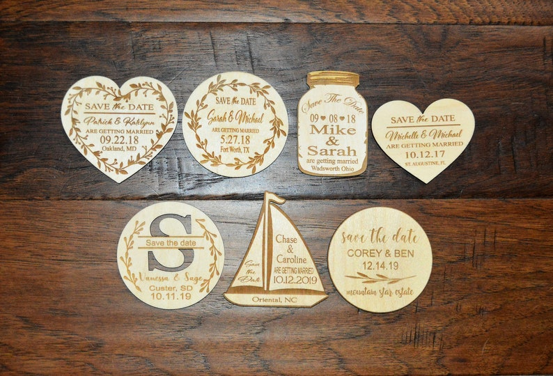 Sale Price Save the date heart Magnets  Save The Date Wood image 0