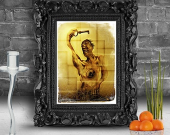Portrait of strange creature holding a key. Surreal fine art print   FRAMED