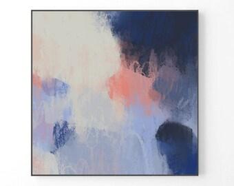 Große Abstrakte Malerei, Moderne Große Wandkunst, Marineblau, Moderne  Einrichtung, Druck Von Original Gemälde, Pastell, Druck, Pastell, Abstrakte  Kunst