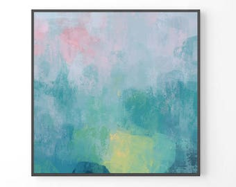 Large Abstract Painting, large wall art, teal abstract art, PRINT from original painting, blue green teal print, abstract art gift