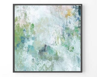 Large Abstract Painting, modern large wall art, teal wall art, print from original painting, mint green pastel print, BEST SELLER