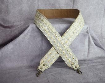 Cream Alligator Embossed Leather  Cut-Resistant  Crossbody Strap / Camera Strap /crossbody leather strap /Wide leather strap /Guitar strap