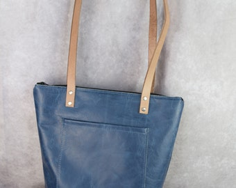NEW Leather unlined zipper tote / with or without a holster pocket