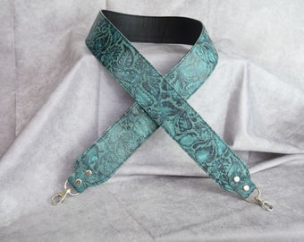 Teal floral Embossed Leather  Cut-Resistant  Crossbody Strap / Camera Strap / crossbody leather strap/ Wide leather strap /Guitar strap