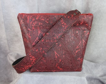 NEW 1312 Red Paisley embossed leather and all leather lined inside/ Concealed carry purse/  crossbody strap /
