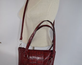1414 Red Crocodile Embossed Leather Purse / Made in the USA/ 3rd Anniversary gift/ Concealed Carry / With or without holster