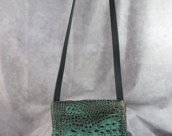 NEW 1009 Teal gator embossed leather and all leather lined inside/ Concealed carry or regular purse/ leather crossbody
