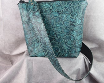 NEW 1312 Blue/green Floral embossed leather and all leather lined inside/ Concealed carry or regular purse/ crossbody strap