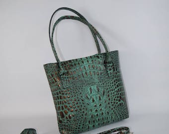 Teal Green brownish/black copper tipped alligator embossed leather conceal carry bag made to order