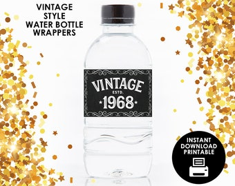 1968 vintage water bottle wrappers 50th birthday bottle wrappers printable water bottle labels printable instant download