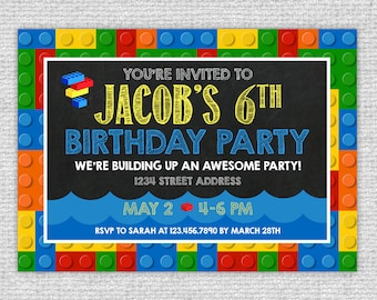 Bricks Pool Birthday Invitation - Bricks Invitation - Primary Colors Bricks Chalkboard Invite - Bricks Invite - Bricks Pool Party