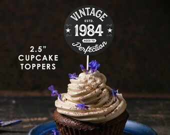 1984 Vintage Aged To Perfection Cupcake Toppers