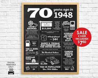 70 Years Ago - 70th Birthday Chalkboard Sign - Instant Download - 3 Sizes - 8x10 11x14 16x20 - 70th Birthday Gift - 1948 Events