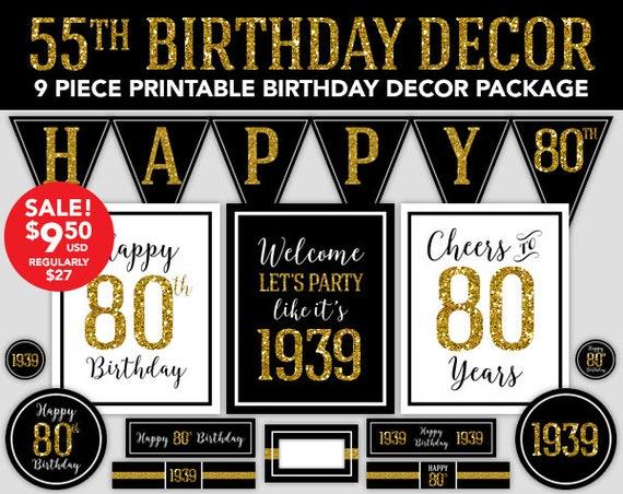 Happy Birthday Decor 80th 1939 Gold Glitter
