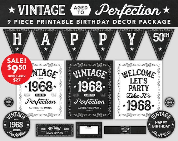 Aged To Perfection Birthday Decor 50th 1968