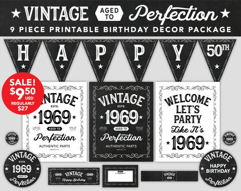 Aged To Perfection Birthday Decor 50th 1969