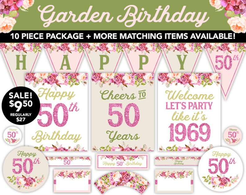 Boho Watercolor Garden 50th Birthday Decorations