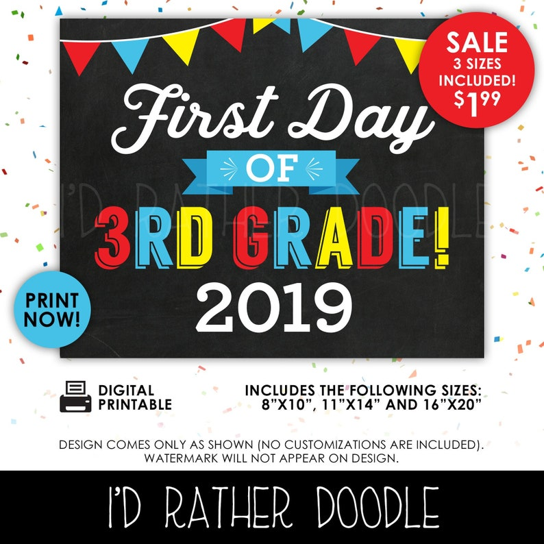 photograph regarding First Day of 3rd Grade Sign Printable called Initially Working day of 3rd Quality Signal - Initially Working day of 3rd Quality - 1st Working day of University - Printable Chalkboard Signal - 1st Working day of College 2019 - 3 Dimensions