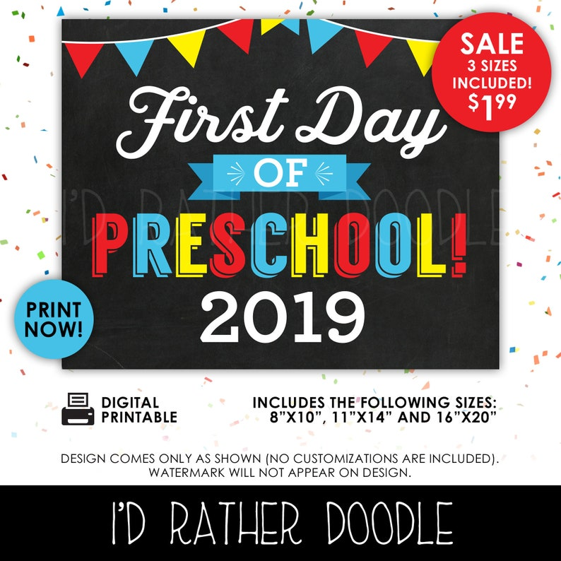 graphic relating to First Day of Preschool Sign Printable named Initially Working day of Preschool Signal - Initially Working day of Preschool - 1st Working day of College or university - Printable Chalkboard Indicator - 1st Working day of College or university 2019 - 3 Dimensions