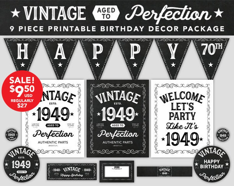 Aged To Perfection Birthday Decor 70th 1949