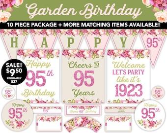 Boho Watercolor Garden 95th Birthday Decorations