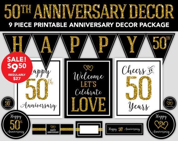 50th Anniversary Happy Anniversary Decorations 50th Wedding Anniversary Party Decor Diy Party Printable Anniversary Decorations