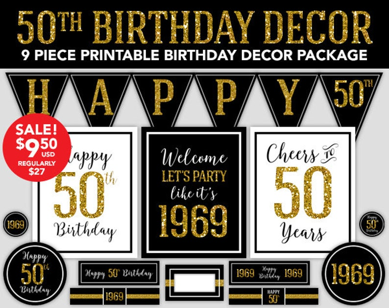 Happy Birthday Decor 50th 1969 Gold Glitter