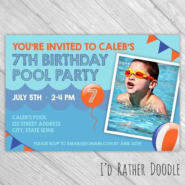 Custom Birthday Pool Party Invitation