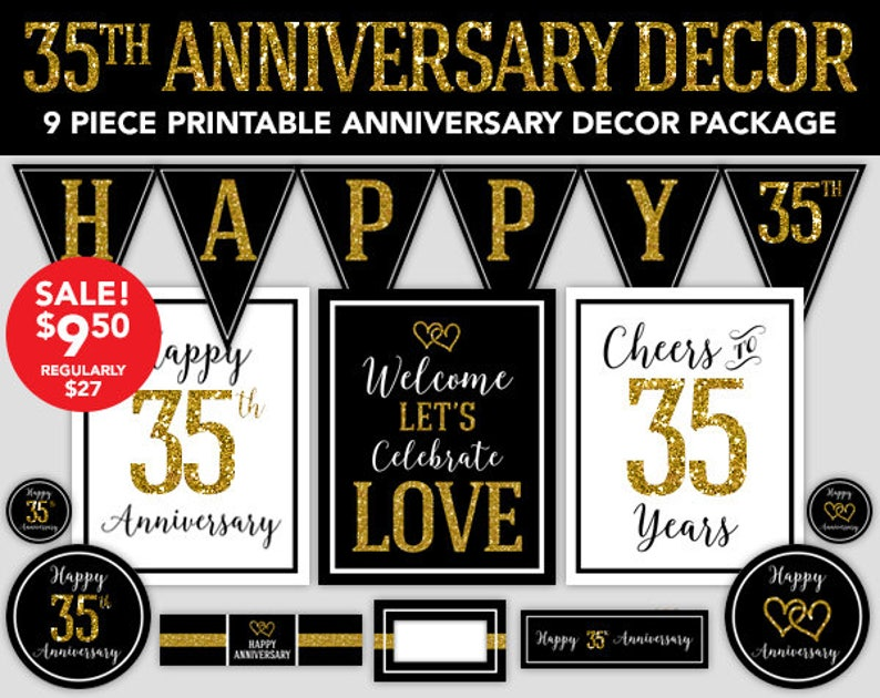 35th Anniversary Happy Anniversary Decorations 35th Etsy