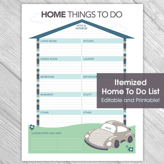 printable editable home to do list things to do list home etsy