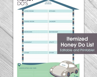 Printable Editable Honey Do List - Things to Do List, Home Organization, Home Repair, Instant Download, Printable
