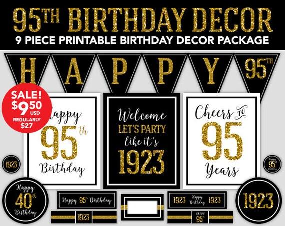 Happy Birthday Decor 95th 1923 Gold Glitter