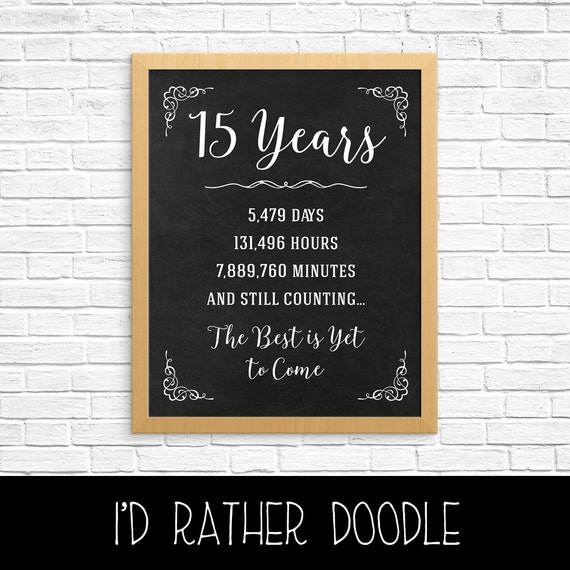 15th Anniversary Gift 15th Year Wedding Anniversary 15th Etsy