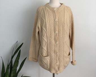 8e9485c092bccd Vintage wool cable knit cardigan