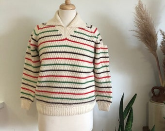 019b6fae79f3cd Vintage 1970 s striped hand knit sweater