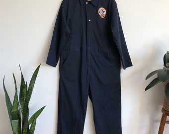 6e69eac047b7 Vintage Miller Lite navy coveralls boiler suit