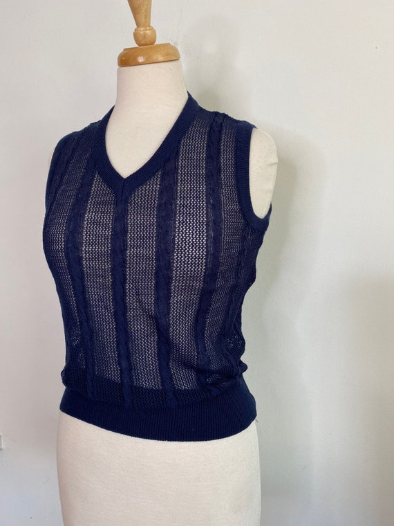 Vintage navy crochet knit sweater vest - image 3