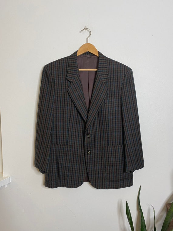 Vintage women's oversized plaid blazer