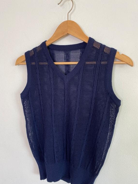 Vintage navy crochet knit sweater vest - image 4