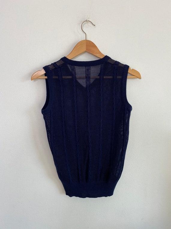 Vintage navy crochet knit sweater vest - image 5