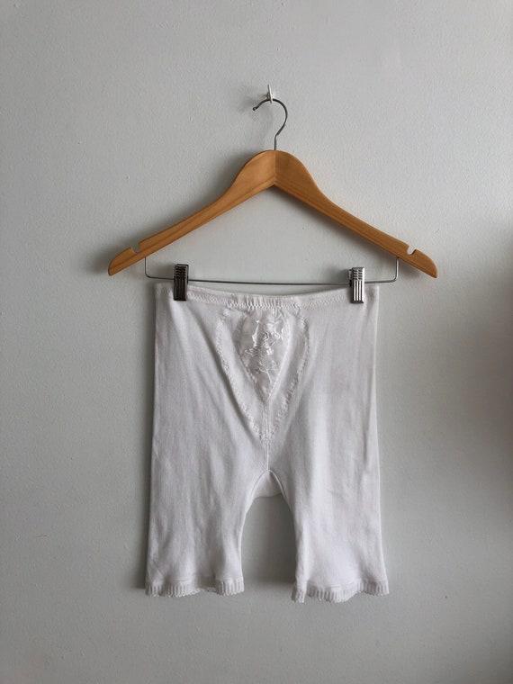 Vintage white cotton ribbed bike shorts long under