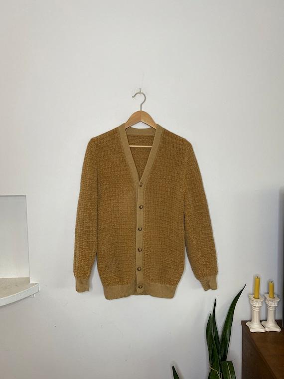 Vintage men's camel brown plush cardigan