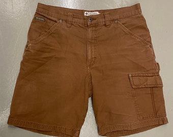 Mens brown Columbia sportswear carpenter cargo shorts size 34