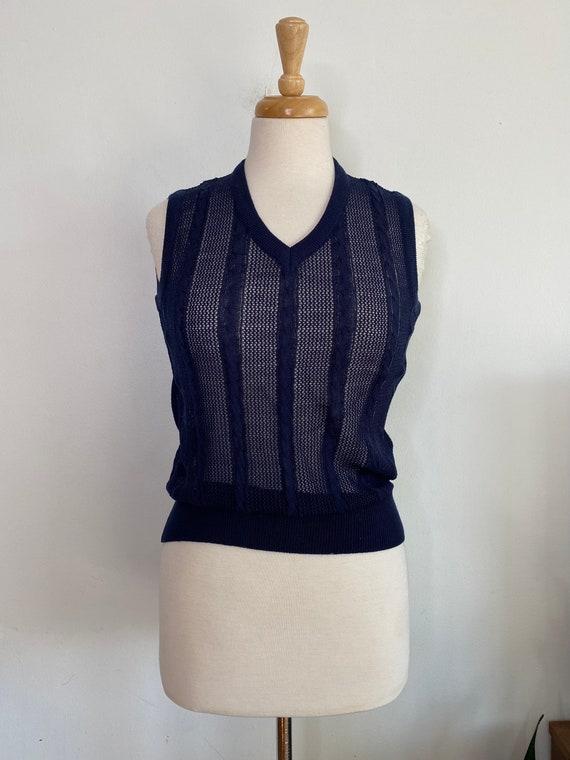 Vintage navy crochet knit sweater vest - image 1