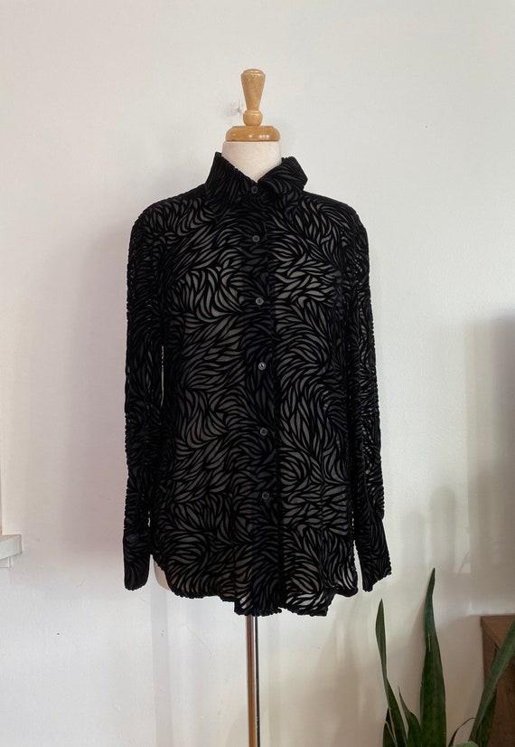 Vintage sheer silk and velvet black blouse