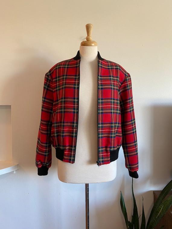 Vintage women's tartan bomber jacket - image 3