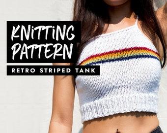 Knitting Pattern | Retro Striped Tank | Knit Crop Top | Knit Top Pattern