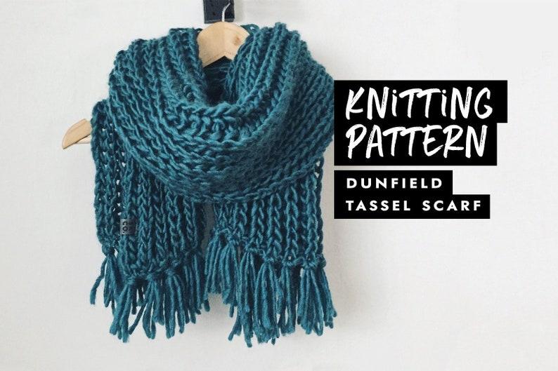 Knitting Pattern  Chunky Tassel Scarf  Knit Pattern image 0