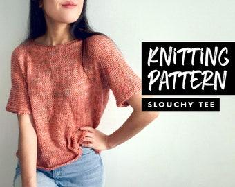 Knitting Pattern | Slouchy T-Shirt | Oversized Crop Top | Knit Top Pattern