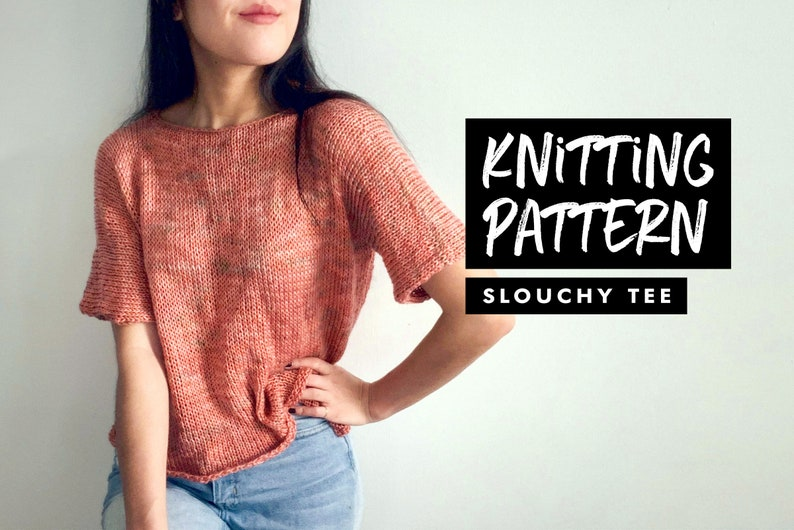 Knitting Pattern  Slouchy T-Shirt  Oversized Crop Top  Knit image 0